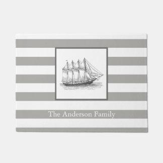 Nautical Gray Vintage Schooner Ship & Family Name Doormat