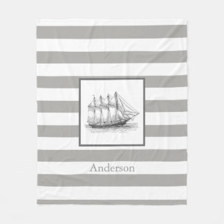 Nautical Gray Vintage Schooner Ship & Family Name Fleece Blanket