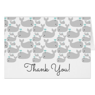 Nautical Grey Whales Baby Shower Thank You Note Card