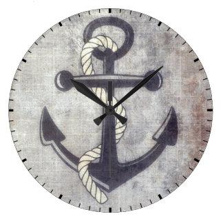 Nautical Grungy Anchor Rustic Wall Clock