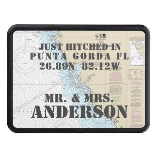 Nautical Gulf Coast FL Just Hitched Just Married Trailer Hitch Cover