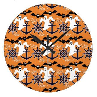 Nautical Halloween pattern Large Clock
