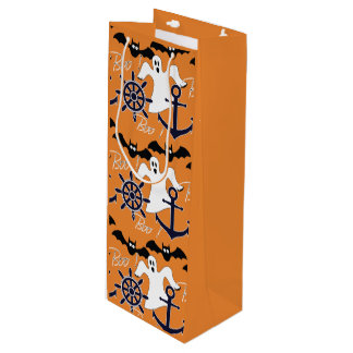 Nautical Halloween pattern Wine Gift Bag
