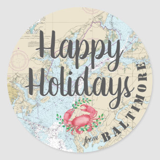 Nautical Happy Holidays from Baltimore Classic Round Sticker