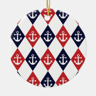 Nautical harlequin pattern ceramic ornament