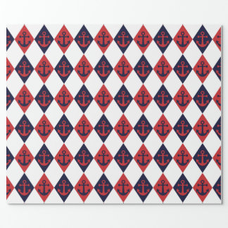 Nautical harlequin pattern wrapping paper