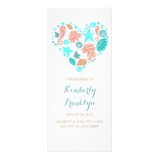 Nautical Heart Beach White Wedding Programs