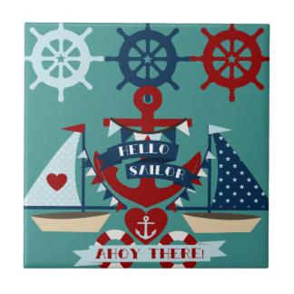 Nautical Hello Sailor Anchor Sail Boat Design Ceramic Tile