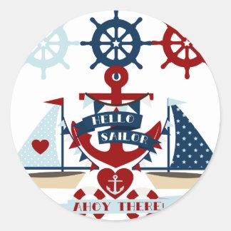 Nautical Hello Sailor Anchor Sail Boat Design Classic Round Sticker