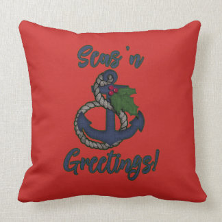Nautical Holiday | Anchor and Holly Throw Pillow