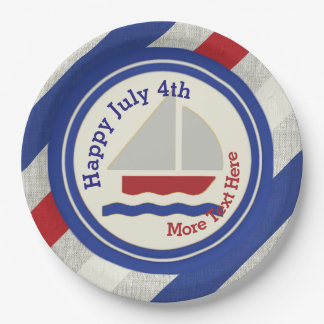Nautical Independence Day Paper Plates 9 Inch Paper Plate