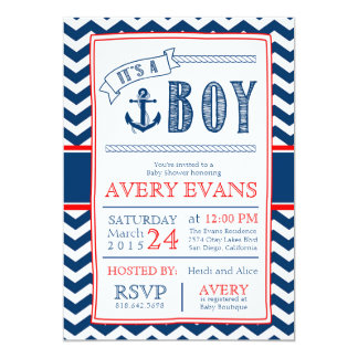 Nautical It's a Boy Baby Shower w/ Anchor Chevron Card