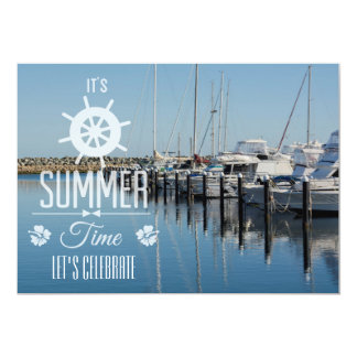 Nautical Its Summer Time Typography Summer Party Card