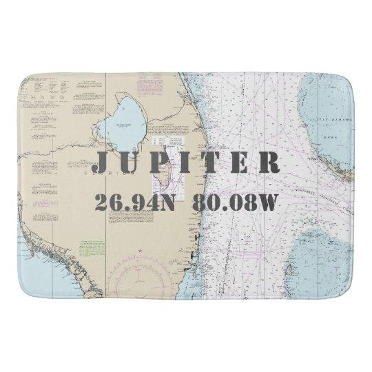 Nautical Jupiter FL Longitude Latitude Chart Bath Mat