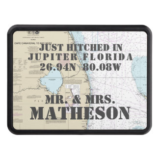 Nautical Jupiter Florida Just Hitched Just Married Trailer Hitch Cover