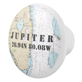 Nautical Jupiter, Florida Latitude Longitude Chart Ceramic Knob