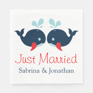 Nautical Just Married Navy Red Whales Wedding Paper Napkin