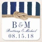 Nautical Knot Burlap Navy Stripes Wedding Coasters