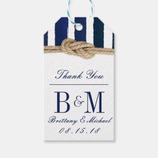 Nautical Knot Burlap Navy Stripes Wedding Gift Tag
