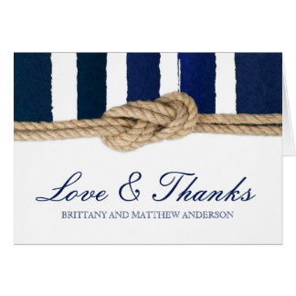 Nautical Knot Watercolor Navy Stripes Thank You Card