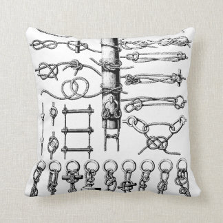 Nautical Knots Chart Vintage Throw Pillow
