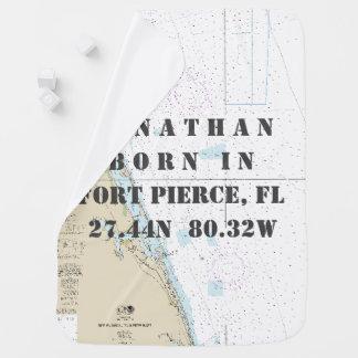 Nautical Latitude Longitude: Fort Pierce, Florida Receiving Blankets