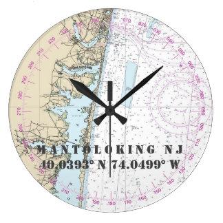 Nautical Latitude Longitude Mantoloking NJ  24-Hr Large Clock