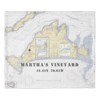 Nautical Latitude Longitude Martha's Vineyard KING Duvet Cover