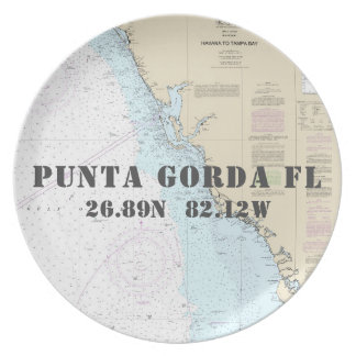 Nautical Latitude Longitude Punta Gorda FL Boat Plate