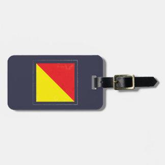 """Nautical Letter """"O"""" Signal Flag Luggage Tag"""