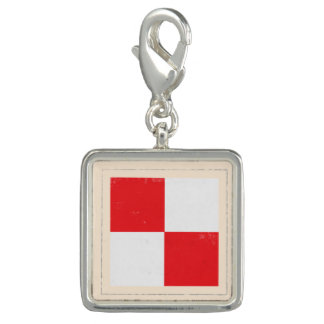 "Nautical Letter ""U"" Signal Flag Photo Charm"