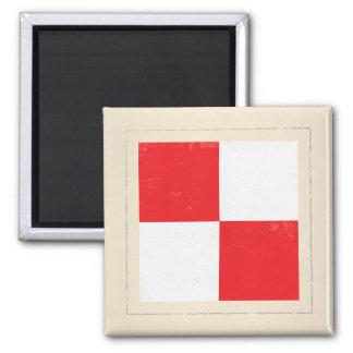 "Nautical Letter ""U"" Signal Flag Square Magnet"