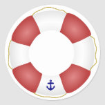 Nautical Life preserver Round Sticker