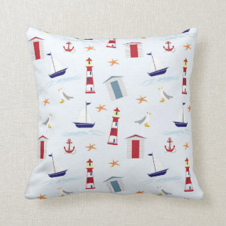 Nautical Light House Sail Boat Pattern Throw Pillow
