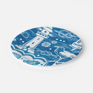 Nautical lighthouse beach party paper plate