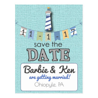Nautical Lighthouse Beach Save the Date card! Postcard