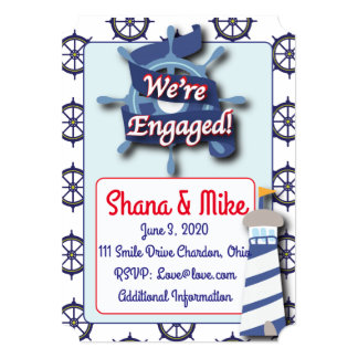 Nautical Lighthouse Engagement Party Invitation