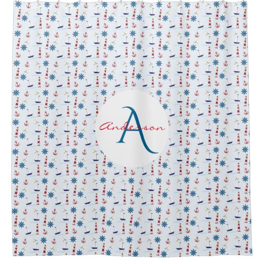 Nautical Lighthouse Marine Monogram Name Shower