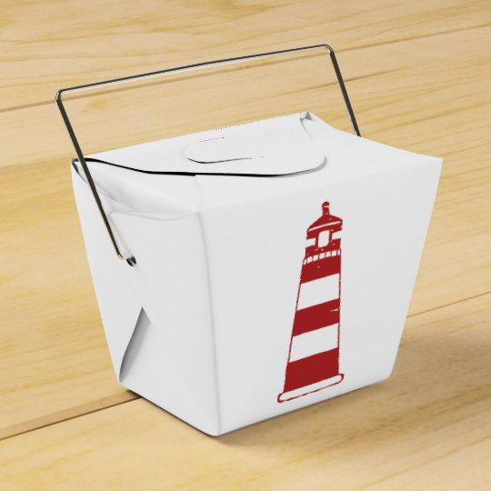 Nautical Lighthouse Red & White Stripes - Sailor Favor Box