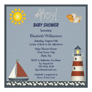 Nautical Lighthouse Sailboat Baby Shower Invites