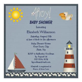 Nautical Lighthouse & Sailboat Baby Shower Invites
