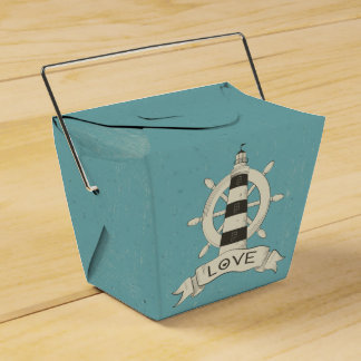 Nautical Lighthouse, Ship Anchor Blue Teal Wedding Favor Box