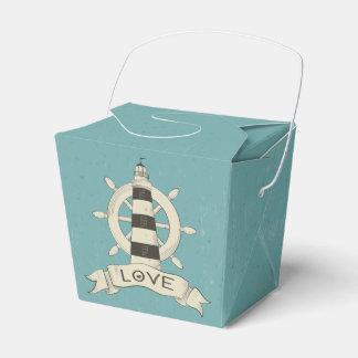 Nautical Lighthouse, Ship Anchor Blue Teal Wedding Party Favor Boxes