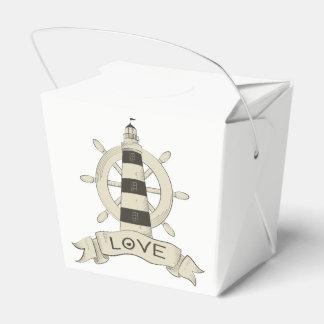 Nautical Lighthouse & Ship Anchor Tan Wedding Favor Boxes
