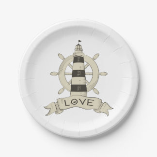Nautical Lighthouse & Ship Wheel Tan Wedding Love Paper Plate