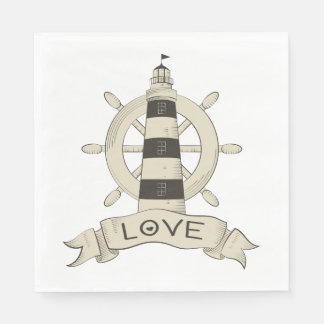Nautical Lighthouse & Ship Wheel Tan Wedding Party Disposable Napkins