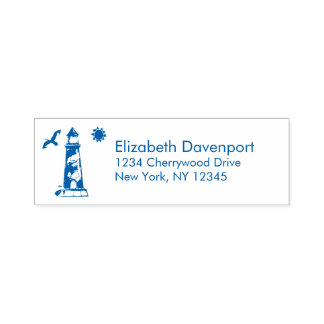 Nautical Lighthouse with Sun and Seagull Self-inking Stamp