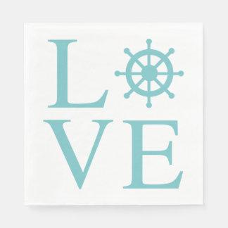 Nautical Love Blue Turquoise Ship Wheel Teal Disposable Napkin