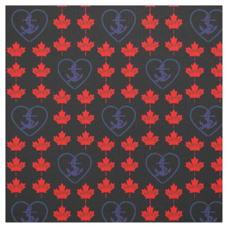 Nautical love Canada anchor heart fabric