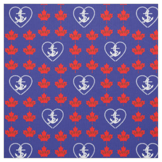 Nautical love Canada anchor heart fabric blue